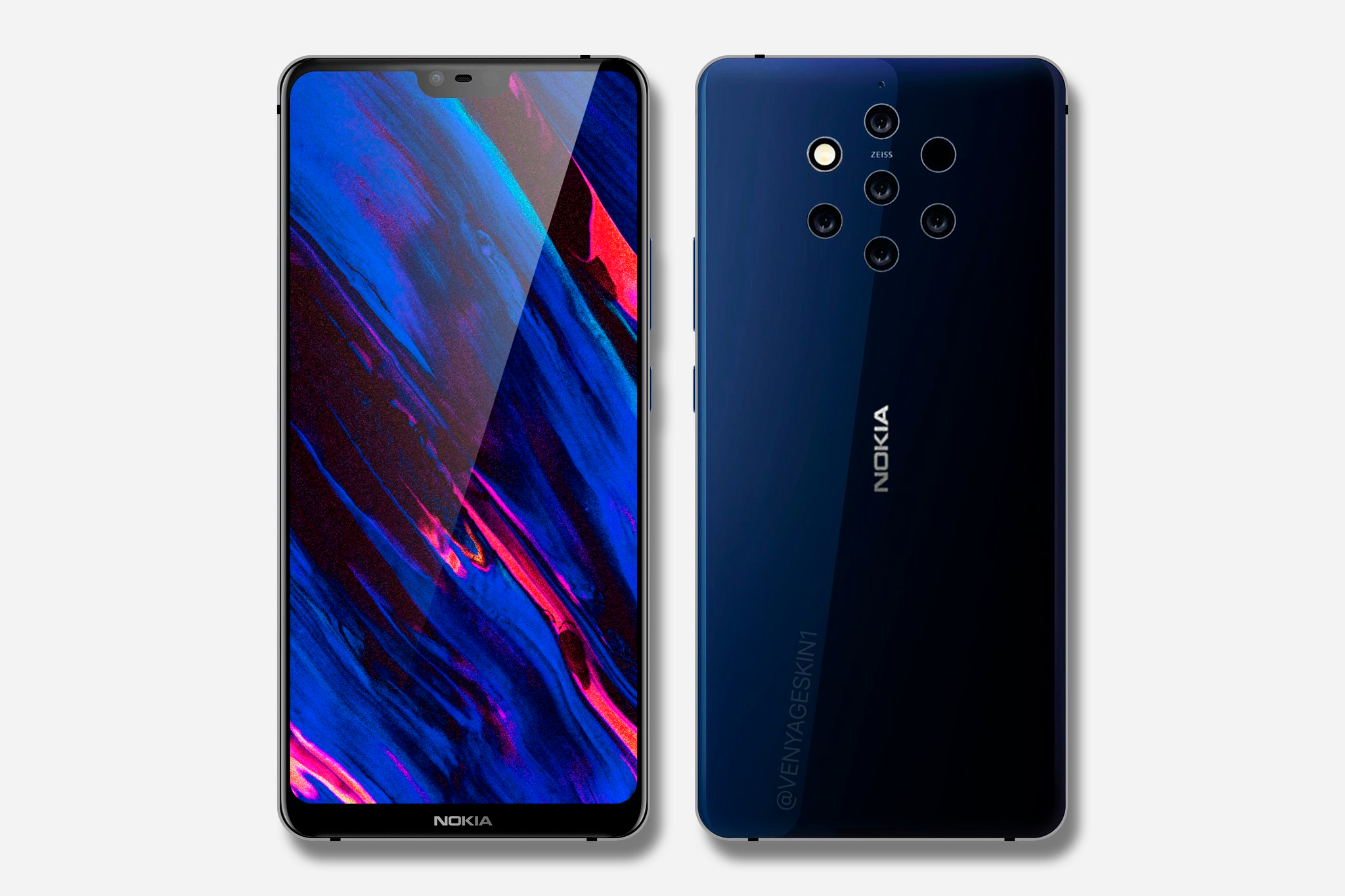 Nokia 9 IMAGES LEAK SHOWS 5 REAR CAMERAS WITH FLASH AND LASER AUTO FOCUS